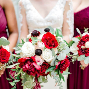 Burgundy and Blush Bridal and Bridesmaid Bouquets - Chelsey and Liz