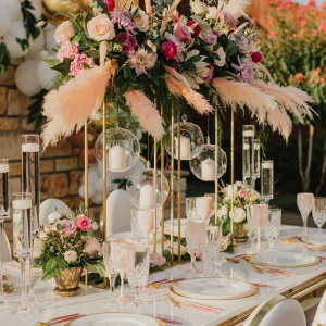 Head Table Tall Statement Centerpiece - Gold and Gilded Styled Shoot 2020